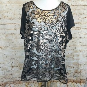 Lane Bryant Sheer Gold Sequin Damask Floral Blouse